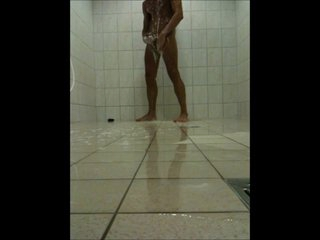 Teen Lad wanking in a Public Shower