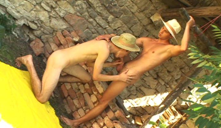 Naughty gay cowboys lick and engulf every others hard rod outdoor