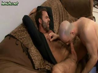 Two lewd older chaps trade some sexy cock sucking action