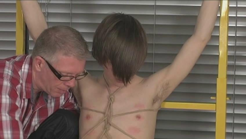 Juvenile homosexual boy with emo haircut receives tied and pinched and tortured
