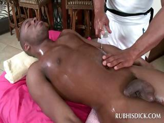 Black homosexual man receives shlong massaged