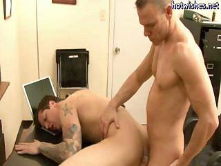 Tatoo gay engulfing a schlong and acquires his arsehole fucked