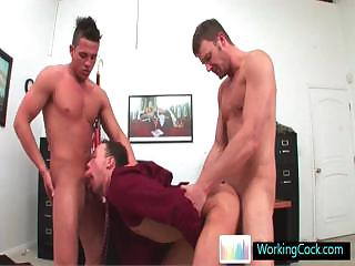Incredible homosexual three some at the office by workingcock