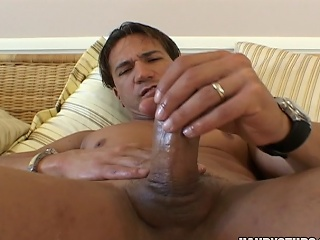 Cock-exposing hunk Marco Duato showing his pecker in this vid...