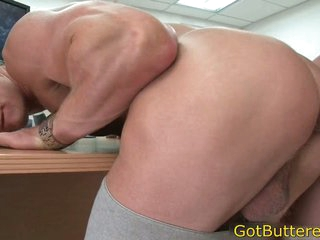 Muscled blond drilled in office