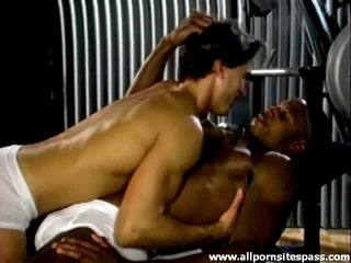 Weight lifting chaps interracial foreplay
