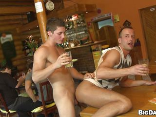 These two fellows are in a pub and after a a hardly any drinks and some talking they become excited and kiss. After that, the older fellow gives the charming lad a nice rimjob and then the lad sucks his dick in advance of fucking his constricted anus from behind right there on the table. A cold gulp should give him the impulse to go unfathomable in that ass.