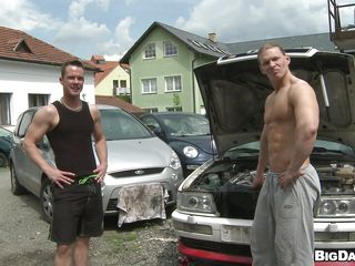 This sexy hunk got some serious looking muscles dancing around his flawless sexy body. While that fellow is checking on some wheel below the hoods. One more slutty fellow comes by do some dirty talks and went down to engulf his cock at that open yard. Pretty soon the other fellow receives down likewise and starts sucking cock.
