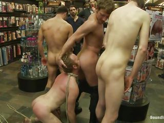 Perhaps this is not what this guy had in his mind when entered that store. Who cares, his a-hole now belong to these bad boys and they are going to show him that this guy is just a homo floozy that has to satisfy each and each command. After humiliating him and spanking his a-hole until it turns red this guy gives rimjobs whilst staying on his knees.
