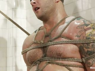 Large boy Colby is fastened and punished below the shower, his muscled are tense as the executor starts his work and that sexy moist body merely asks for a hard fuck and humiliation, look at him blindfolded and with his pleasing rod fastened and tortured. That guy is pleased and because this chab makes so much noise this chab receives a dildo betwixt his pretty lips, that makes him silent for a while, maybe a hard rod will make this sexy stud shut up.