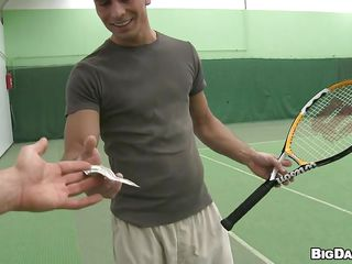Playing tennis is fine but for the right amount of cash this hunk will leave his favorite sport for something this guy likes even more, sucking a hard dick. This chab takes off his shirt and kneels like a worthy boy, opening that sexy mouth. See hos that hard weenie goes unfathomable in his face hole and how this guy delights himself with it. Have a fun