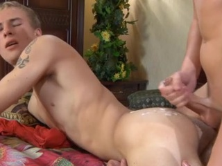 Str8 fellow getting enticed into meat munching and a-hole riding on the bed