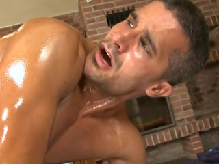 Hunk receives lusty anal drilling during massage