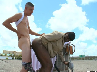 Indeed slutty white guy fucking his fascinating darksome friend in his wazoo and throat