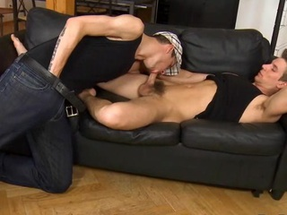 Juvenile gay gives impressive hunk a lusty wazoo licking session
