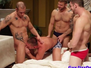 Brawny hunks assfucking orgy action