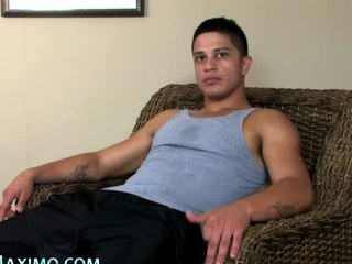 Latino tugs his large jock